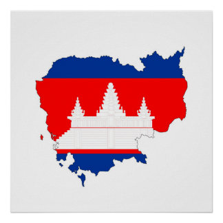 cambodia country flag map shape silhouette symbol poster