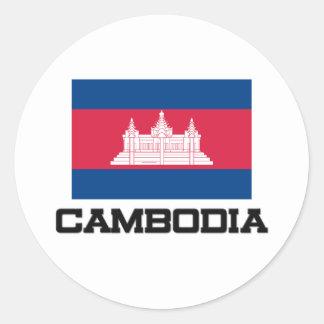 Cambodia Flag Classic Round Sticker