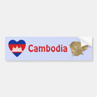 Cambodia Flag Heart + Map Bumper Sticker