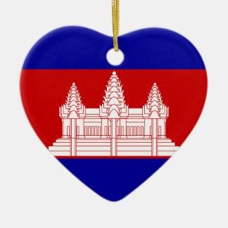 Cambodia Flag Heart Ornament
