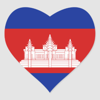 Cambodia Flag Heart Sticker