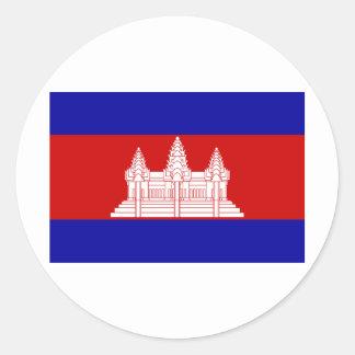 Cambodia Flag KH Classic Round Sticker