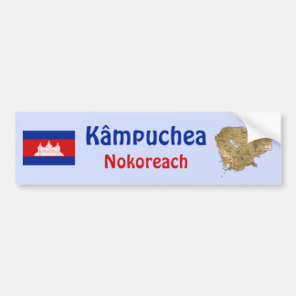 Cambodia Flag + Map Bumper Sticker