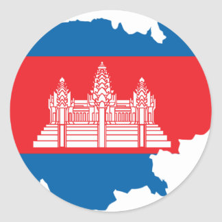 Cambodia flag map classic round sticker