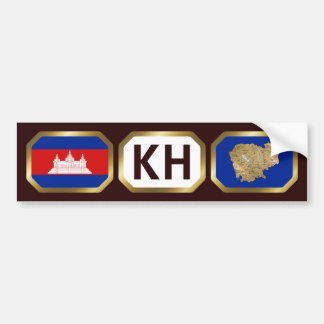 Cambodia Flag Map Code Bumper Sticker
