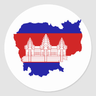 Cambodia Flag map KH Classic Round Sticker