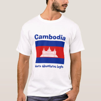 Cambodia Flag + Map + Text T-Shirt