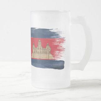 Cambodia Flag Frosted Glass Mug