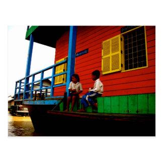 Cambodia floating village postcard