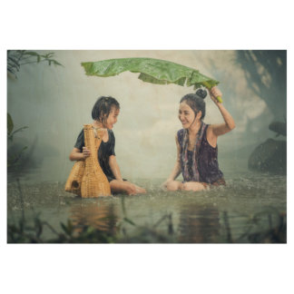 Cambodia happy faces of young women and girl wood poster