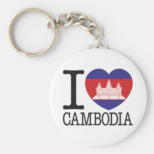 Cambodia Love v2 Basic Round Button Key Ring