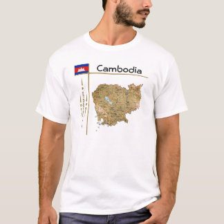 Cambodia Map + Flag + Title T-Shirt