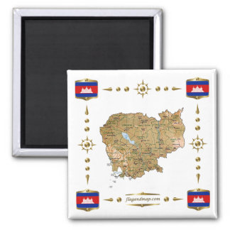 Cambodia Map + Flags Magnet