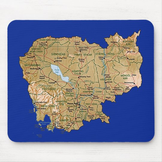Cambodia Map Mousepad