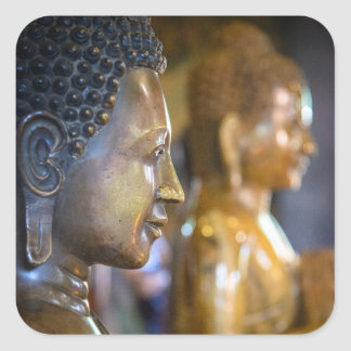 Cambodia, Phnom Penh. Buddha statues Square Sticker