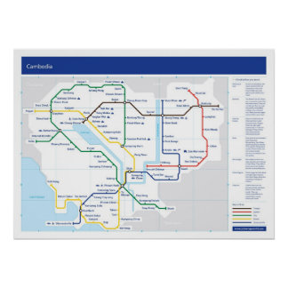 Cambodia tube map poster