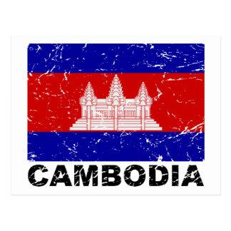 Cambodia Vintage Flag Postcard