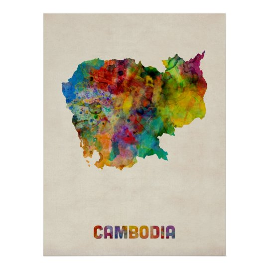 Cambodia Watercolor Map Poster