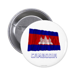 Cambodia Waving Flag with Name 6 Cm Round Badge