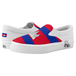 Cambodian flag printed shoes