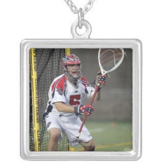 CAMBRIDGE, MA - AUGUST 13:  Jordan Burke #5 3 Silver Plated Necklace