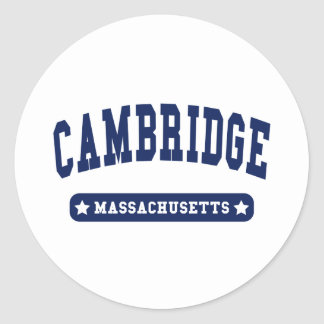 Cambridge Massachusetts College Style t shirts Classic Round Sticker