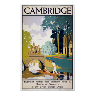 Cambridge Vintage Travel Poster Restored
