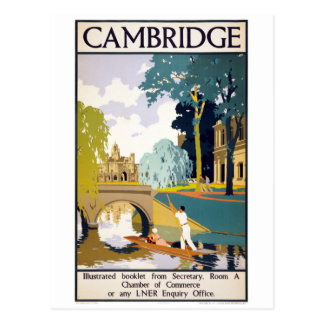 Cambridge Vintage Travel Poster Restored Postcard