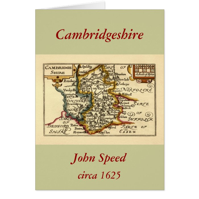 Cambridgeshire County Map, England Greeting Card