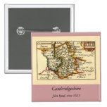 Cambridgeshire County Map, England Pinback Buttons