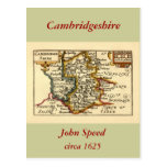 Cambridgeshire County Map, England Post Card