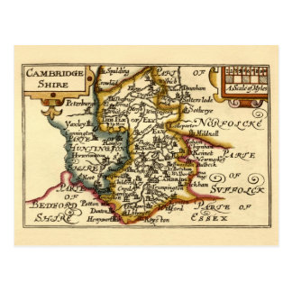 Cambridgeshire County Map, England Postcard