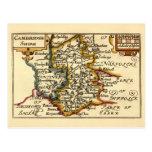 Cambridgeshire County Map, England Postcards