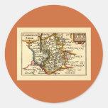Cambridgeshire County Map, England Round Stickers