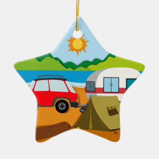 Cameground with tent and caravan christmas ornament