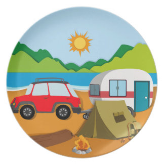 Cameground with tent and caravan dinner plates