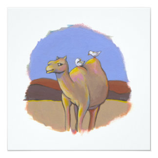 """Camel and Birds - fun contemporary painting art 5.25"""" Square Invitation Card"""