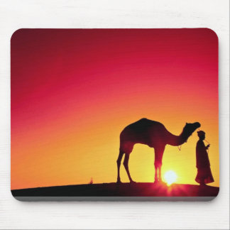Camel and driver at sunset, India Mouse Mat