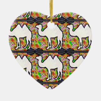 Camel and Flowers Ceramic Heart Decoration