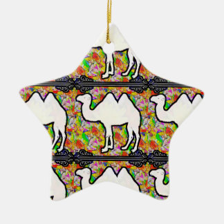 Camel and Flowers Ceramic Star Decoration