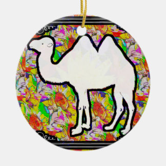 Camel and Flowers Round Ceramic Decoration