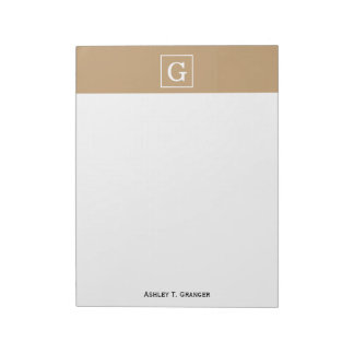 Camel Brown White Framed Initial Monogram Notepad