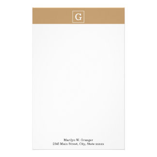 Camel Brown White Framed Initial Monogram Personalized Stationery