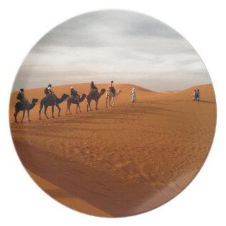 Camel caravan desert beautiful scenery plates