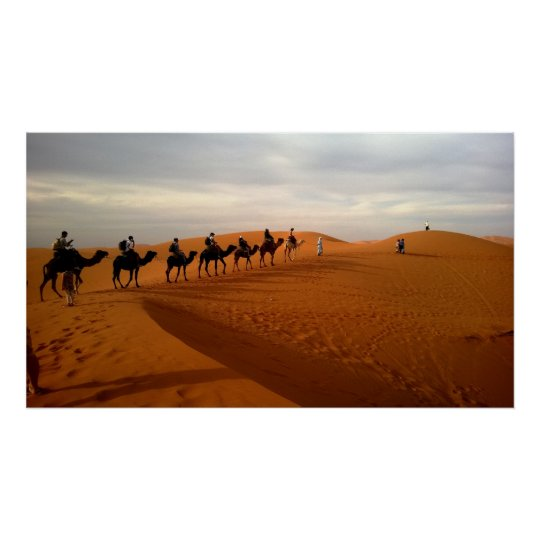 Camel caravan desert beautiful scenery poster