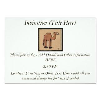 Camel - Colorful Antiquarian Book Illustration 11 Cm X 16 Cm Invitation Card