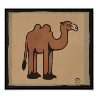 Camel - Colorful Antiquarian Book Illustration Poster