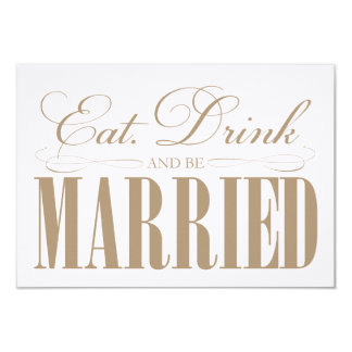 Camel Eat, Drink & Be Married   Enclosure 9 Cm X 13 Cm Invitation Card