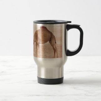 Camel in desert stainless steel travel mug