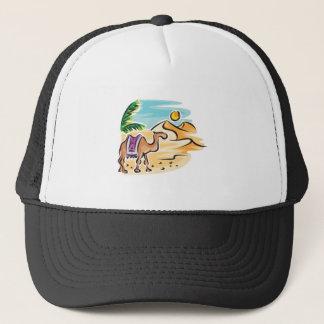 camel in desert scene trucker hat